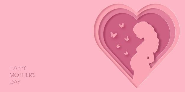 Cartão de felicitações em estilo de arte em papel para feliz dia das mães. linda mulher grávida e borboletas