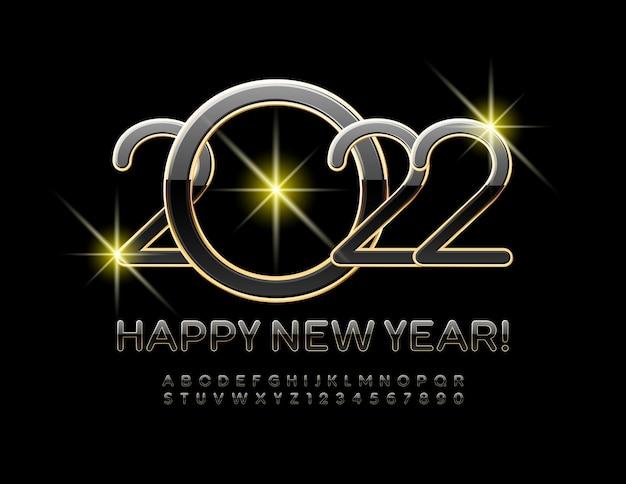 Cartão de felicitações em vetor feliz ano novo de 2022 letras e números do alfabeto em preto e dourado chic fon