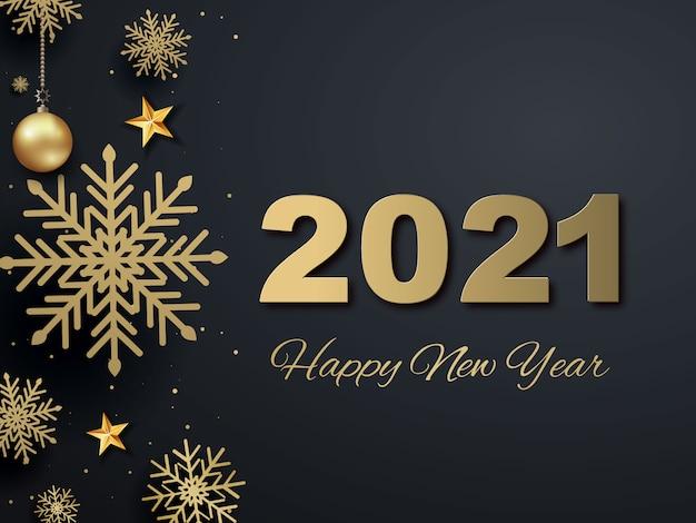 Cartão de felicitações, feliz ano novo de 2021. bolas de natal de ouro metálico, decoração, cintilante, confete brilhante