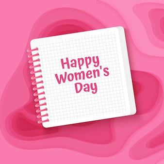 Cartão de felicitações feliz dia das mulheres com fundo de estilo de corte de papel rosa