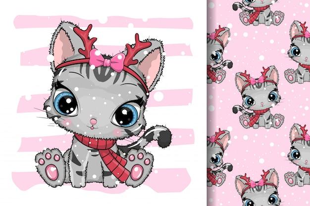 Cartão de felicitações gatos de natal