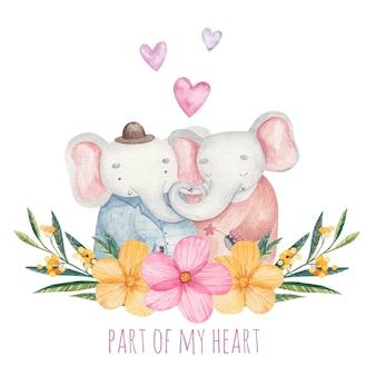 Cartão de felicitações, menino e menina elefantes fofos com flores, inscrição fofa parte do meu coração