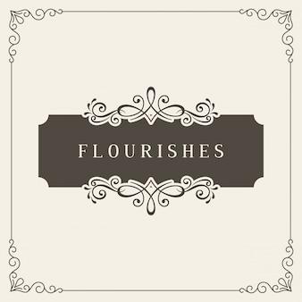 Cartão de felicitações modelo de convites de casamento retrô. banner vintage com moldura de floreios