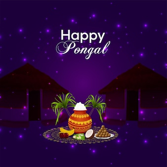 Cartão de felicitações para a celebração pongal feliz com pote de lama e kalash