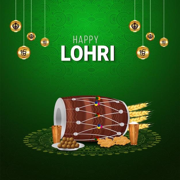 Cartão de felicitações para a feliz celebração da lohri
