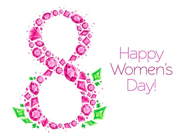 Cartão de felicitações para dia das mulheres, diamantes brilhantes de 8 de março, pedras preciosas e jóias de diamantes