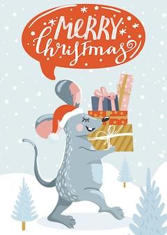 Cartão de felicitações para o ano novo com rato bonitinho, presentes e letras.