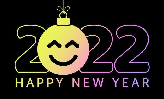 Cartão de felicitações para o ano novo de 2022 com o rosto sorridente de emoji pendurado no fio como um brinquedo de natal, bola ou bugiganga. ilustração em vetor conceito emoção de ano novo