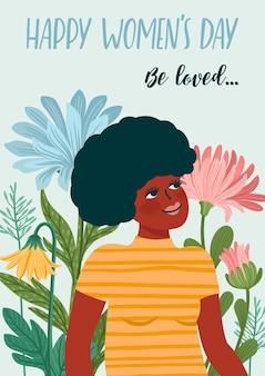Cartão de felicitações para o dia internacional da mulher com mulher e flores