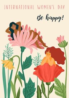 Cartão de felicitações para o dia internacional da mulher com mulheres e flores