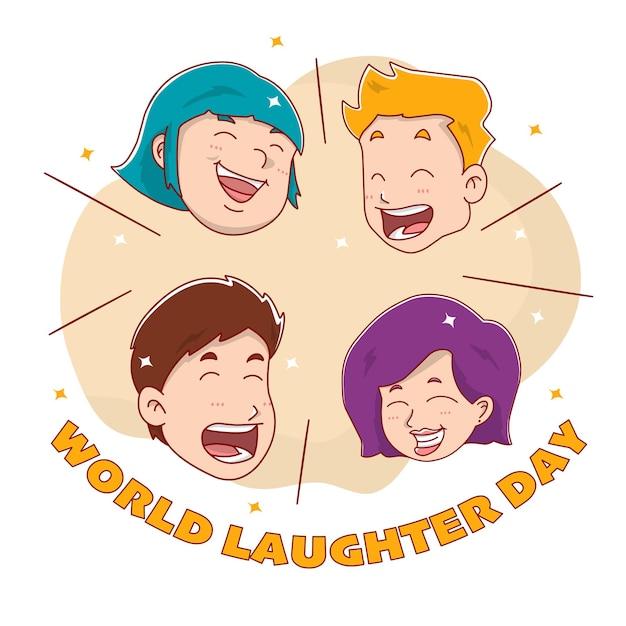 Cartão de felicitações para o dia mundial do riso com cabeças de pessoas
