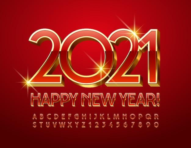 Cartão de felicitações premium de vetor feliz ano novo 2021! fonte elegante vermelha e dourada. conjunto de letras e números do alfabeto 3d de luxo