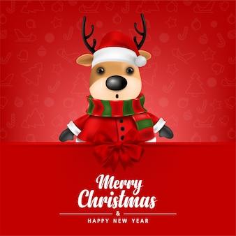 Cartão de felicitações rena fofa em fundo vermelho para ilustração vetorial de cartão de feliz natal e feliz ano novo