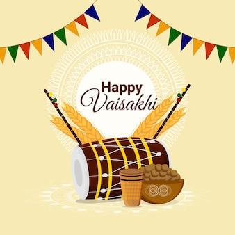 Cartão de felicitações vaisakhi e plano de fundo