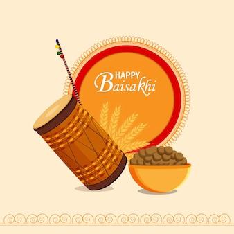 Cartão de felicitações vaisakhi plano e modelo com ilustração e tambor