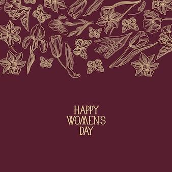 Cartão de felicitações vermelho-escuro com muitos objetos ao redor do texto sobre o dia da mulher, decorado com flores.