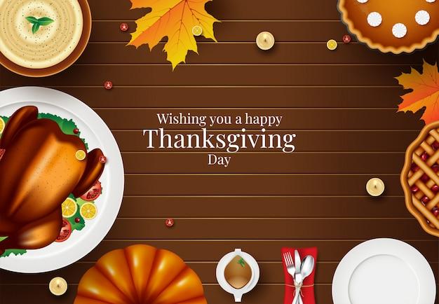 Cartão de feliz ação de graças com elementos de outono sobre madeira. design colorido. ilustração vetorial