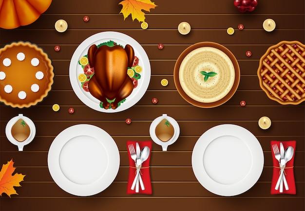 Cartão de feliz ação de graças com elementos de outono sobre madeira. ilustração de vista superior de jantar