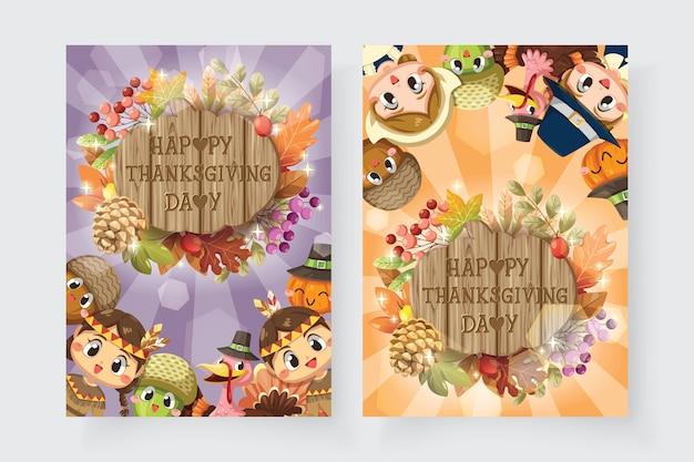 Cartão de feliz ação de graças com menino, mulher, turquia e placa de madeira