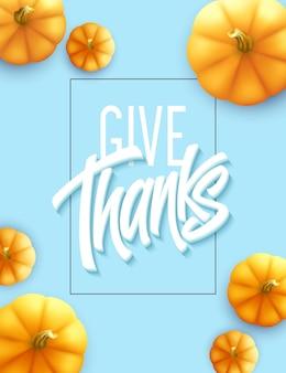 Cartão de feliz ação de graças. letras de caligrafia de férias