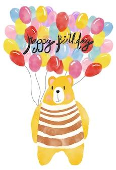 Cartão de feliz aniversário aquarela