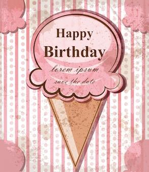 Cartão de feliz aniversário bebê com sorvete