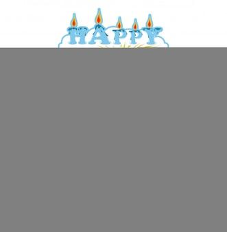 Cartão de feliz aniversário bolo. paisagem urbana da cidade em estilo simples. casa alfabética para edu