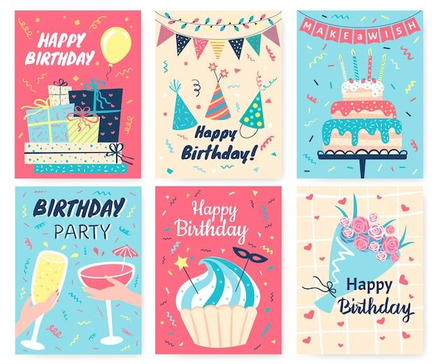 Cartão de feliz aniversário cartões fofos de aniversário com elementos desenhados à mão bolo vela balão