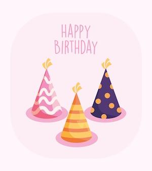 Cartão de feliz aniversário chapéus