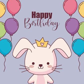 Cartão de feliz aniversário coelho fofo com balões de hélio