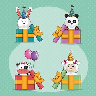 Cartão de feliz aniversário com animais fofos
