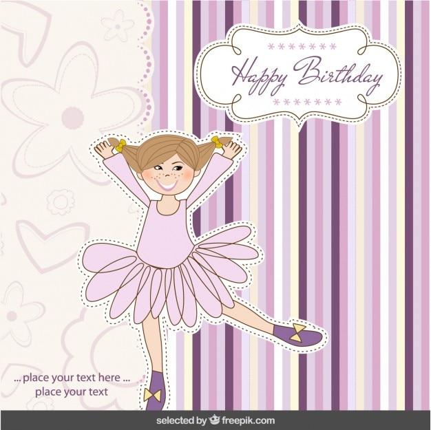 Cartão de feliz aniversário com bailarina
