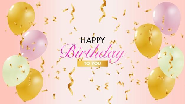 Cartão de feliz aniversário com balão