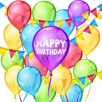 Cartão de feliz aniversário com balões coloridos e fitas em branco