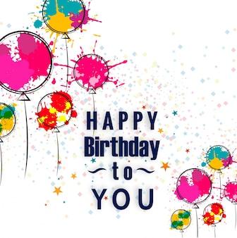 Cartão de feliz aniversário com balões de aquarela mão desenhada