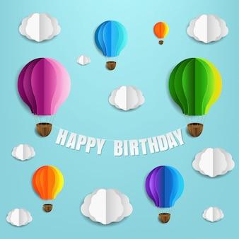 Cartão de feliz aniversário com balões de ar e nuvem