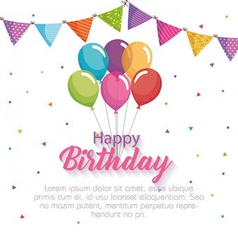 Cartão de feliz aniversário com balões de ar