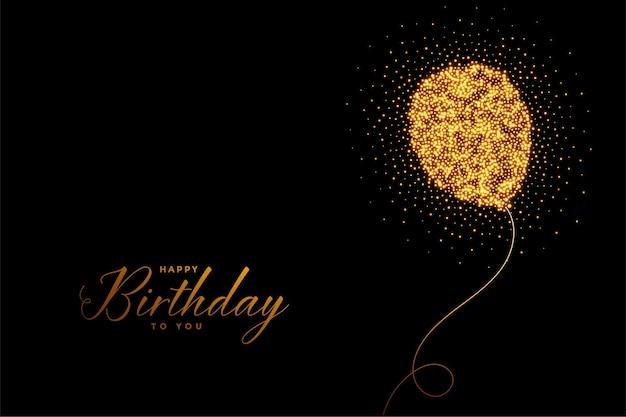Cartão de feliz aniversário com balões de brilho