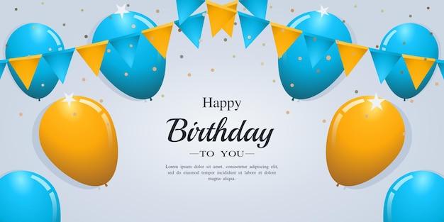 Cartão de feliz aniversário com balões de confete e bandeiras