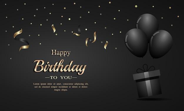 Cartão de feliz aniversário com balões de confete e caixa de presente