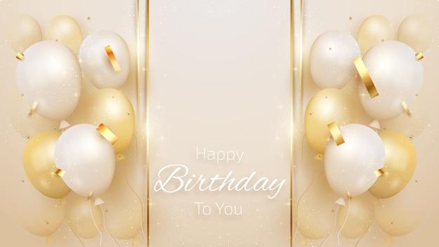 Cartão de feliz aniversário com balões de luxo e fita estilo 3d realista em fundo tom creme. ilustração vetorial para design.