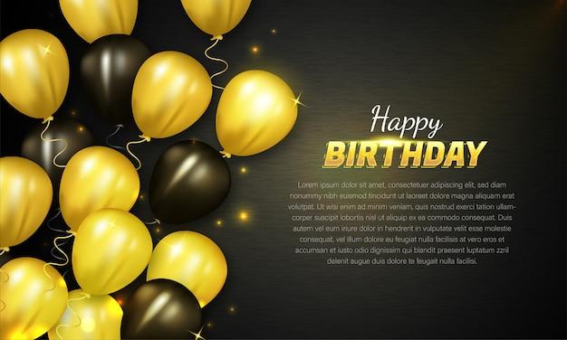 Cartão de feliz aniversário com balões dourados