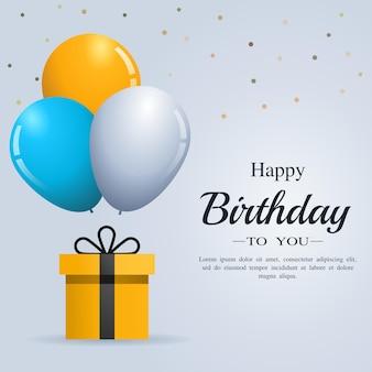 Cartão de feliz aniversário com balões e caixa de presente