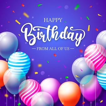 Cartão de feliz aniversário com balões e confetes
