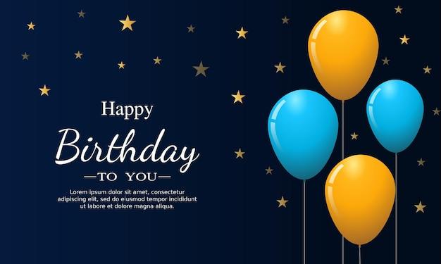 Cartão de feliz aniversário com balões e estrela