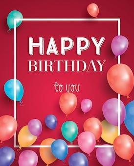 Cartão de feliz aniversário com balões e moldura branca a voar.