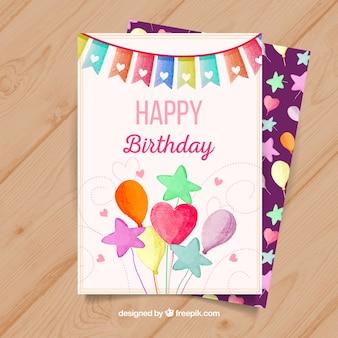 Cartão de feliz aniversario com balões em estilo aquarela
