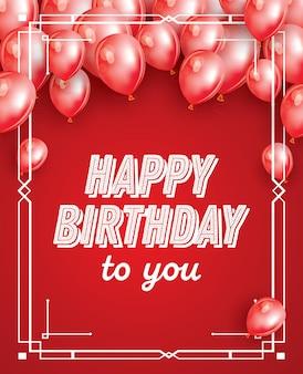 Cartão de feliz aniversário com balões vermelhos, confetes e moldura branca. ilustração vetorial.