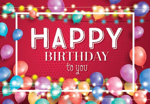 Cartão de feliz aniversário com balões voando e moldura branca. ilustração vetorial.