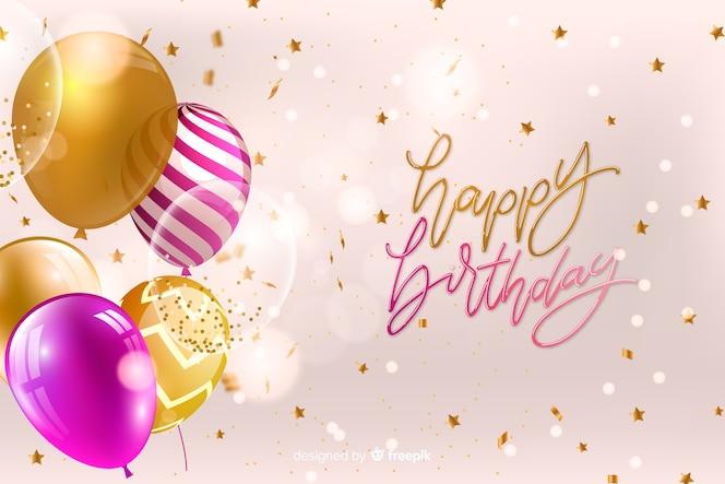 Cartão de feliz aniversário com balões